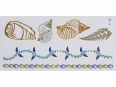 Gold Silver Blue | Jewelry Flash Tattoo stickers W-125C, 21x11cm