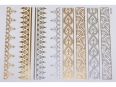 Gold Silver | Jewelry Flash Tattoo stickers W-079, 21x15cm