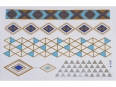 Gold Silver Blue | Jewelry Flash Tattoo stickers W-123C, 21x15cm