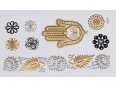 Gold Silver | Jewelry Flash Tattoo stickers X-013, 15x9cm