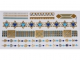 Gold Silver Blue | Jewelry Flash Tattoo stickers W-128C, 21x11cm