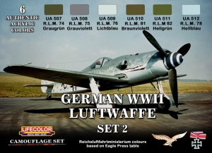 Kit aerografo di colori camouflage LifeColor CS07 GERMAN WWII LUFTWAFFE SET2