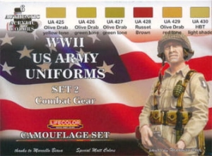Kit aerografo di colori camouflage LifeColor CS18 WWII US ARMY UNIFORMS SET2 Combat Gear