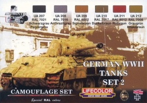 Kit aerografo di colori camouflage LifeColor CS03 GERMAN WWII TANKS SET2