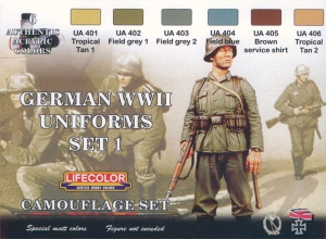 Kit aerografo di colori camouflage LifeColor CS04 GERMAN WWII UNIFORMS SET1